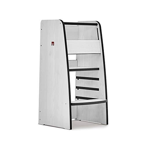 Bianconiglio Kids Torre de Aprendizaje Trusty Pino Blanco, Ajustable en 4 Posiciones DualLock con Sistema Patentado de...