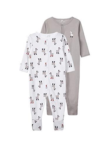 NAME IT Nbnnightsuit 2p W/f Noos Pijama, Multicolor (Weiß Bright White), 74 (Pack de 2) para Bebés