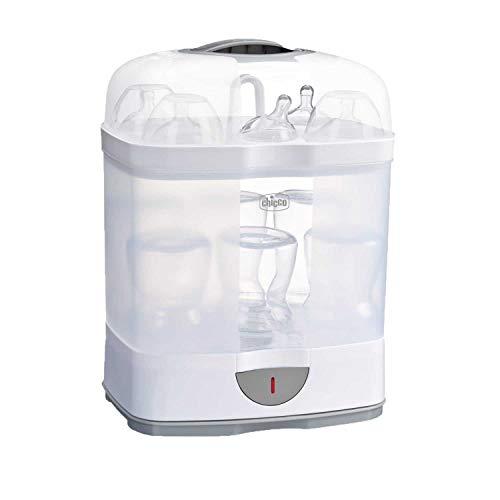 Chicco 00007392000000 Steril Natural 2en1 - Esterilizador eléctrico de hasta 6 biberones en 5 minutos, Blanco
