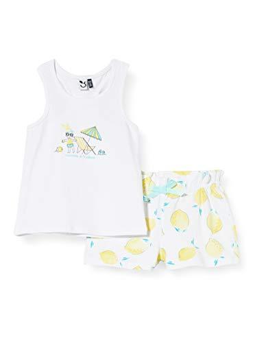 3 Pommes 3q37012 Debardeur+Short Conjunto, Blanco (Blanc 01), 3-6 Meses (Talla del Fabricante: 3/6M) para Bebés