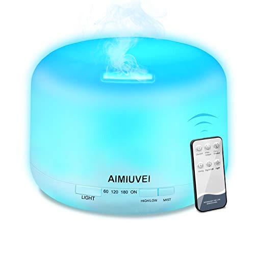 AIMIUVEI 500ml Humidificador Aromaterapia Ultrasonico con Mando a Distancia, Difusor de Aceites Esenciales Aromaterapia...