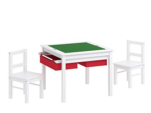 UTEX 2-En-1 Multi Mueble Infantil Juego De Mesas para Infantil Y 2 Sillas Set con Almacenamiento (Blanco con Rojo) con...