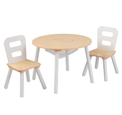 KidKraft 27027- Mesa de madera redonda natural y blanca con 2 sillas, para sala de juegos para niños / muebles de...