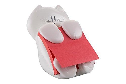Post-It CAT-330 - Dispensador de notas, diseño Gato, color blanco (7,6 x 7,6 cm) – Incluye 1 bloc de Z-notas...