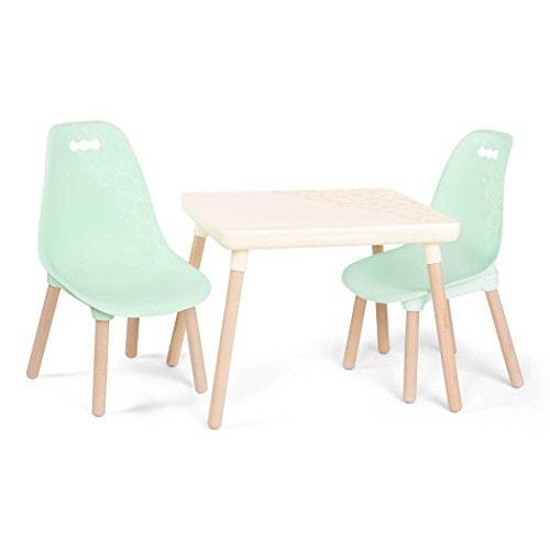 B. spaces by Battat BX1866C1Z - Juego de mesa y sillas para niños con patas de madera natural (marfil y menta)