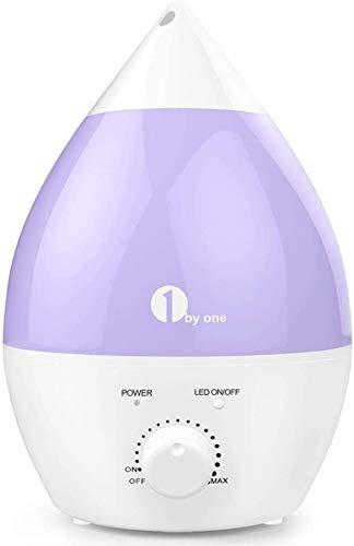 1 BY ONE Humidificador ultrasónico No Ruido 2.8 litros - Luces LED de 7 Colores - con la función Apagado automático...