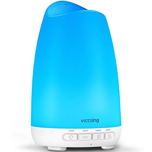Victsing Mini Humidificador Aromaterapia,150 ML Difusor de Aceites Esenciales de Vapor Frío, 7-Color LED, Hogar,...