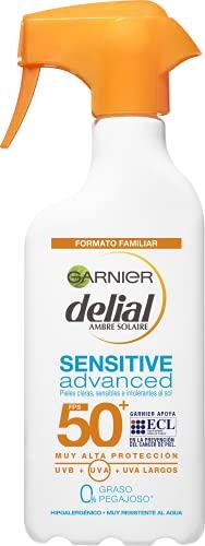 GARNIER DELIAL Sensitive Advanced - Leche Solar para Pieles Claras, Sensibles e Intolerantes al Sol, IP50+, Multicolor -...