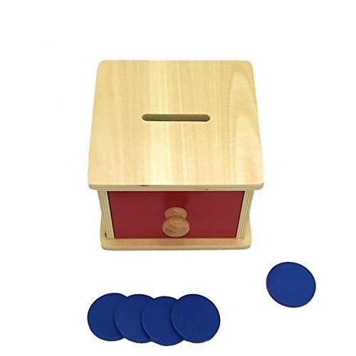 Montessori - Hucha de juguete para bebé, con forma de caja (pintura acuática)