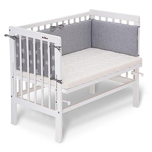 fabimax cama auxiliar Basic Color Blanco, Incluye Colchón y protector de cuna gris 06. Sterne groß/grau Talla:mit...