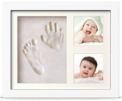 BraceTek - Kit de Marco Para Manos y Huellas de bebé para niño y niña - marcos de arcilla y madera - No se agrieta al...
