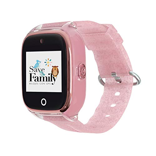 Reloj con GPS para niños SaveFamily Superior acuático con cámara Rosa Glitter. Smartwatch con botón SOS, Permite...