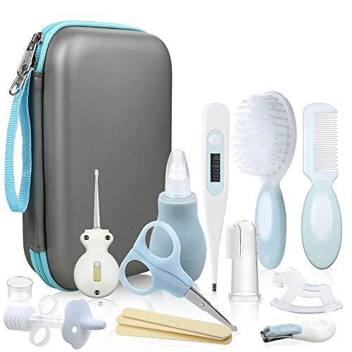 Lictin Set para Cuidado del Bebé - 15 Piezas Kit de Aseo para Bebés con Cuchara de Oreja con LED Cepillo de Pelo y...
