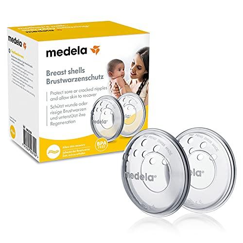 Medela Protectores de pezones - Sin BPA, hechos de silicona suave, con orificios de ventilación transpirables, incluye...