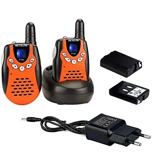 Retevis RT602 Walkie Talkies Niños Recargables con Baterías de Iones de Litio y Cargador, Linterna de 8 Canales VOX,...