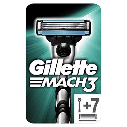 Gillette Mach3 Maquinilla de Afeitar Hombre + 7 Cuchillas de Recambio, Regalos Originales para Hombre