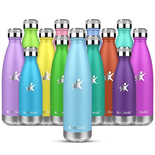 KollyKolla Botella de Agua Acero Inoxidable, Termo Sin BPA Ecológica, Botellas Termica Reutilizable Frascos Térmicos...