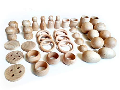 Juego de madera Montessori - Juego heurístico de 40 piezas - Cesto tesoros - anillas, bolas, semiesferas, morteros,...