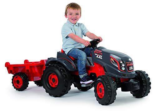 Smoby 710200 Stronger XXL Tractor a pedales con remolque, Rojo