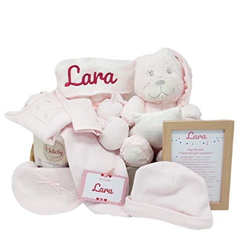 Funny Bear de Mababy | Canastilla Bebé | Regalo Bebé Personalizado | Canastilla Personalizada | Cesta Bebe (Rosa)