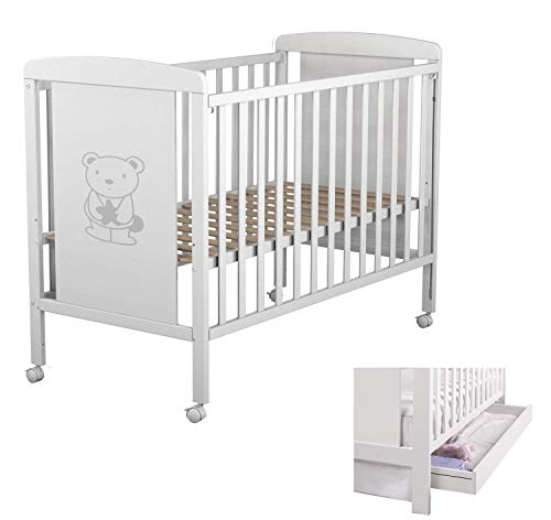 Star Ibaby Dreams Sweet 102 - Cuna de bebé 8 posiciones con cajón. Lateral abatible. Color blanco.