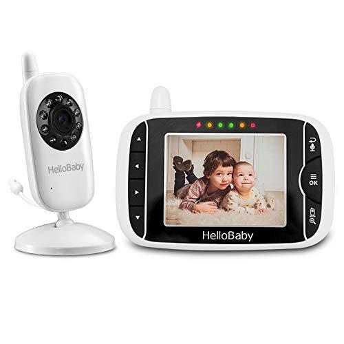 HelloBaby HB32 Vigilabebés Monitor Inalámbrico de Vídeo con Cámara Digital, Vigilancia de la Temperatura de Visión...
