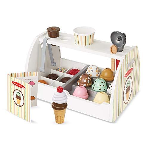 Melissa & Doug - Set de 28 piezas de madera para preparar helados, Wooden Ice Cream Counter (19286) , color/modelo...