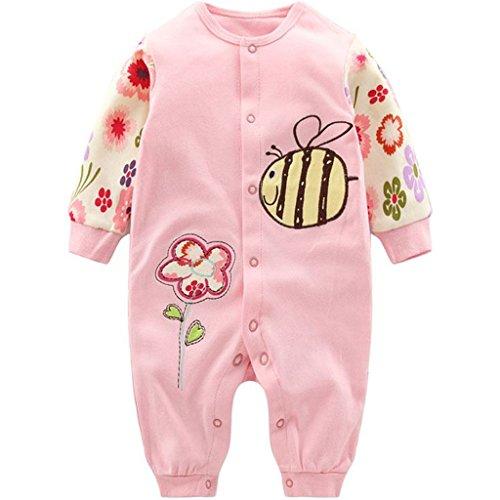 Minizone Monos infantil del bebé de los mamelucos Niños Onsises algodón de manga larga Sleepsuit para Bebé-Niñas...