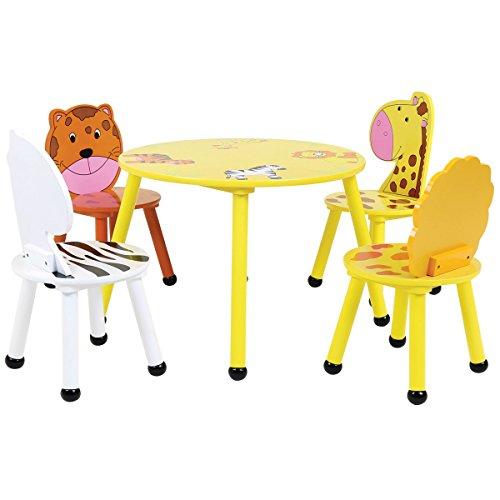 Bentley - Set de Muebles Infantiles de Madera - Mesa y 4 sillas - Motivo Safari