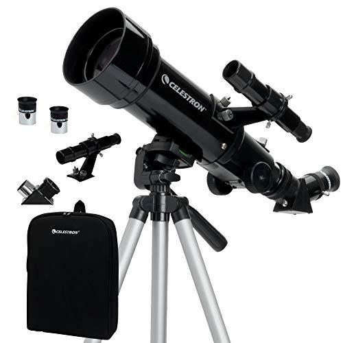Celestron Travel Scope 70 - Telescopio portable con ampliación de 20x, longitud focal 40 cm, color negro, abertura de...