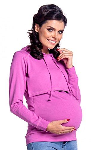 Happy Mama Sudadera de maternidad con capucha.Modelo 272p Negro violeta orquídea 44