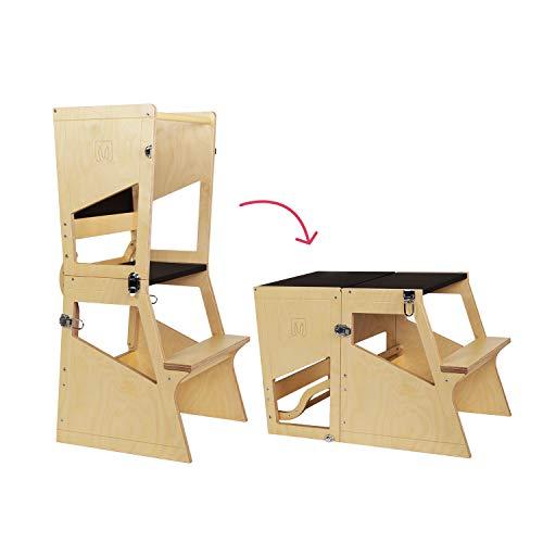 Bianconiglio Kids ® Moka TRS Torre de Aprendizaje Montessori Acabado Transparente, Madera Vista, Regulable en Altura,...