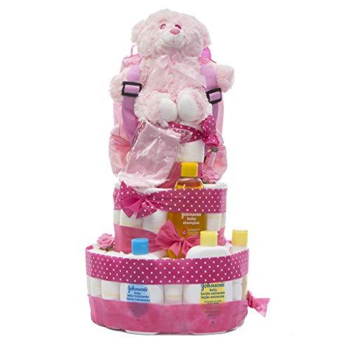 Tarta de pañales DODOT y Neceser Johnson's baby 3 pisos niña - Regalo original para recién nacido