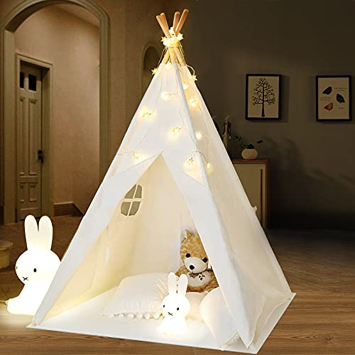 Tipi Infantil Tienda para niños con Luces de Hadas & Luz de Hadas & Alfombra Del Piso - Tienda de campaña para niños...