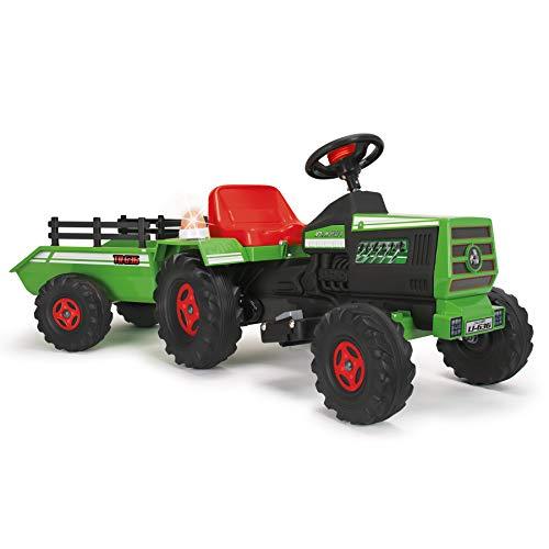 INJUSA - Tractor Basic 6V Verde con Remolque Luces y Sonidos Recomendado a Niños de entre 1 y 3 Años