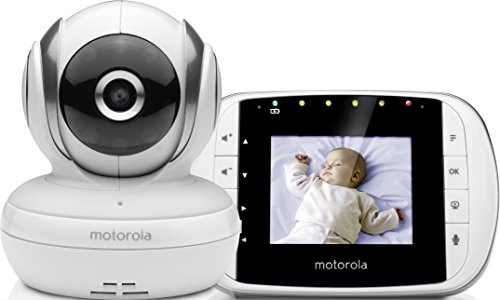 Motorola Baby MBP 36S/SC - Vigilabebés Vídeo con Pantalla LCD a Color de 3.5', Modo Eco y Visión Nocturna, Blanco