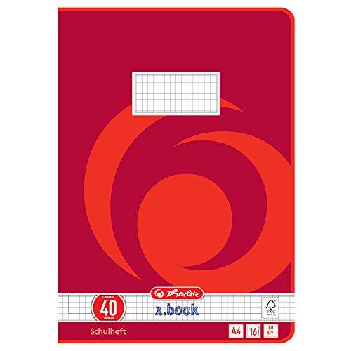 Herlitz 3324001 - Cuaderno, 10 unidades, A4/16, diseño 40 (cuadrícula con marco), certificado FSC Mixed, diseños...