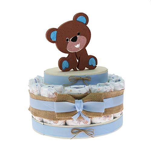 Viale Magico Idea de regalo económico para recién nacido, tarta de pañales, nacimiento o baby shower, niño (tarta de...