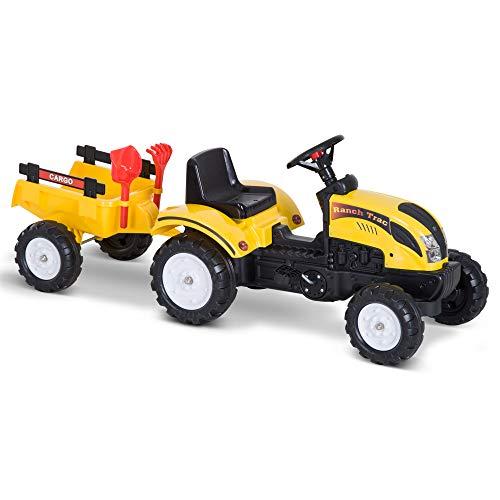 Tractor Pedal con Remolque para Niños 3 Años Juguete de Montar Coche de Pedales Carga 35kg 133x42x51cm Hierro y...