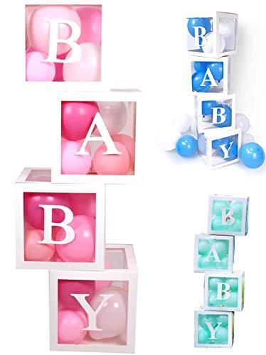 PILIN 4Pcs Bloques blancos Cuadrado Kit de cajas de Baby Shower Decoraciones de fiesta para niño y niña Bloques...