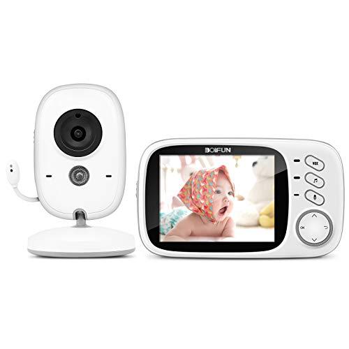 Vigilabebés Cámara, BOIFUN Camara vigilancia Bebe Inteligente con Pantalla LCD de 3.2', VOX, Visión Nocturna,...