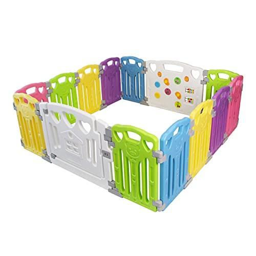 Baby Playpen - Centro de actividades para niños, juego de seguridad en el patio, interior y exterior, con 14 paneles,...