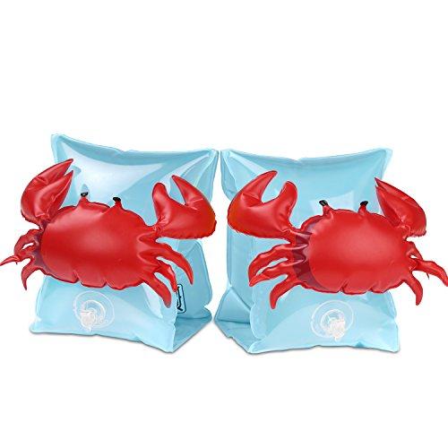 HeySplash Manguitos Acuáticos Flotadores de Brazo para Niños de 3 a 6 años, Cangrejo Azul