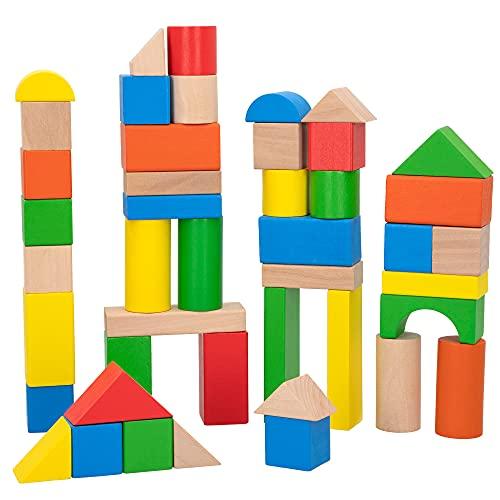 WOOMAX - Juego de construcción madera, Bloques madera, Bloques de madera para niños, 100 piezas, +18 meses, Madera...