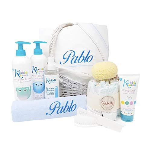Cesta Bebé Good Night | Canastilla bebe Personalizada | regalo original Bebe | Cesta Recién nacido Bordada (Azul)