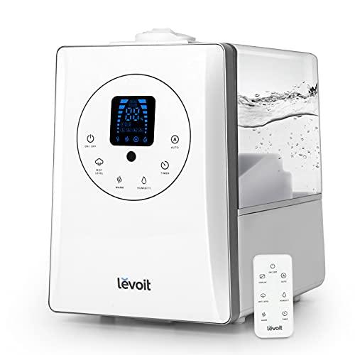 LEVOIT Humidificador Ultrasónico 6L de Vapor Caliente y Frío a Bebes, Humidificador Aromaterapia a 36H y 70 m²,...