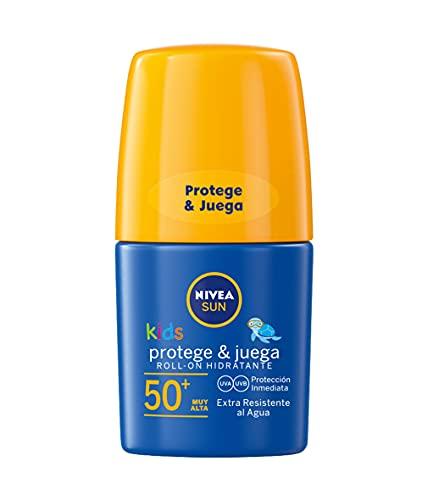NIVEA SUN Roll-On Solar Niños Protege & Juega FP50+ (1 x 50 ml), protector solar roll-on para niños, crema solar...