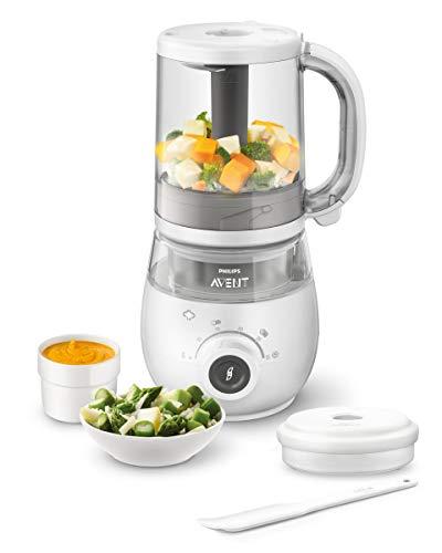 Philips Avent SCF883/01 - Procesador de alimentos para bebé 4 en 1 en color blanco: cocina a vapor, tritura, descongela...