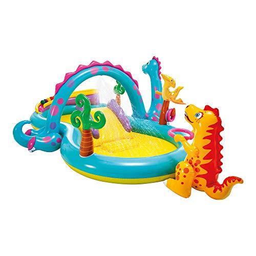 Intex-57135NP Dinoland Play Center-Centro de juegos acuático hinchable, modelo surtido (con y sin volcán), multicolor,...