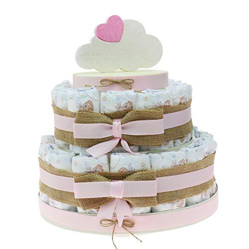 Tarta de pañales rosa para recién nacido, idea original como regalo, decoración de nube infantil